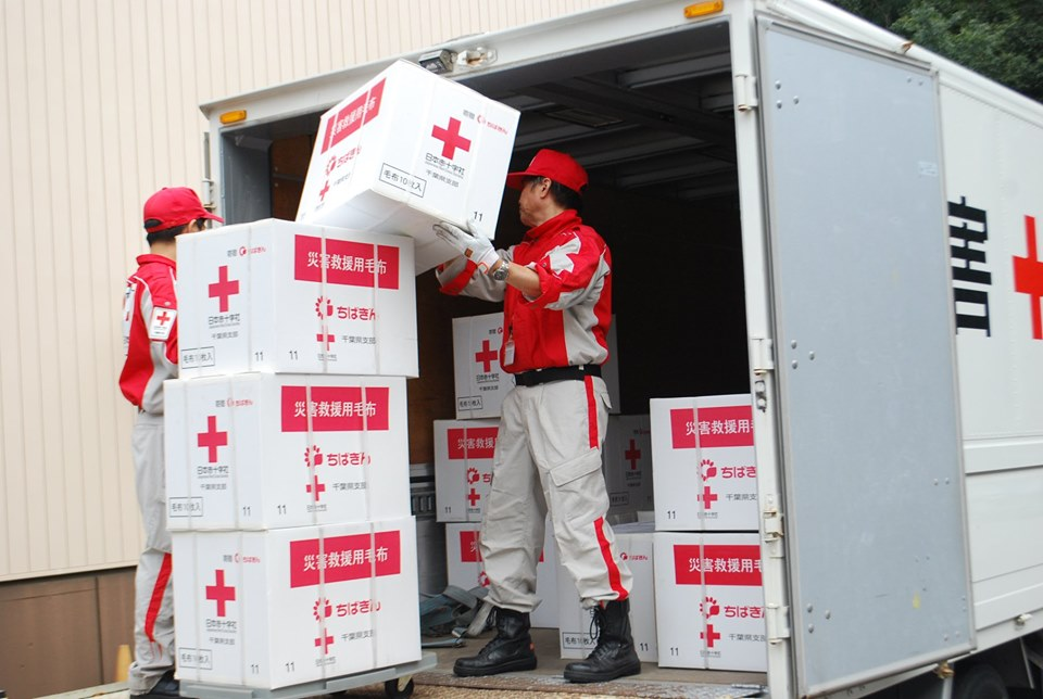Japanese Red Cross Society staff was handling relief materials