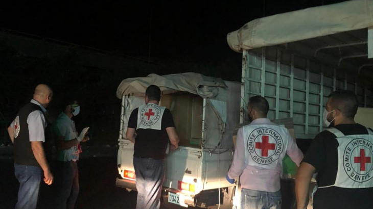 The ICRC carried out a preliminary distribution of emergency medical supplies to 12 hospitals in and around Beirut.  Photo credit:  ICRC